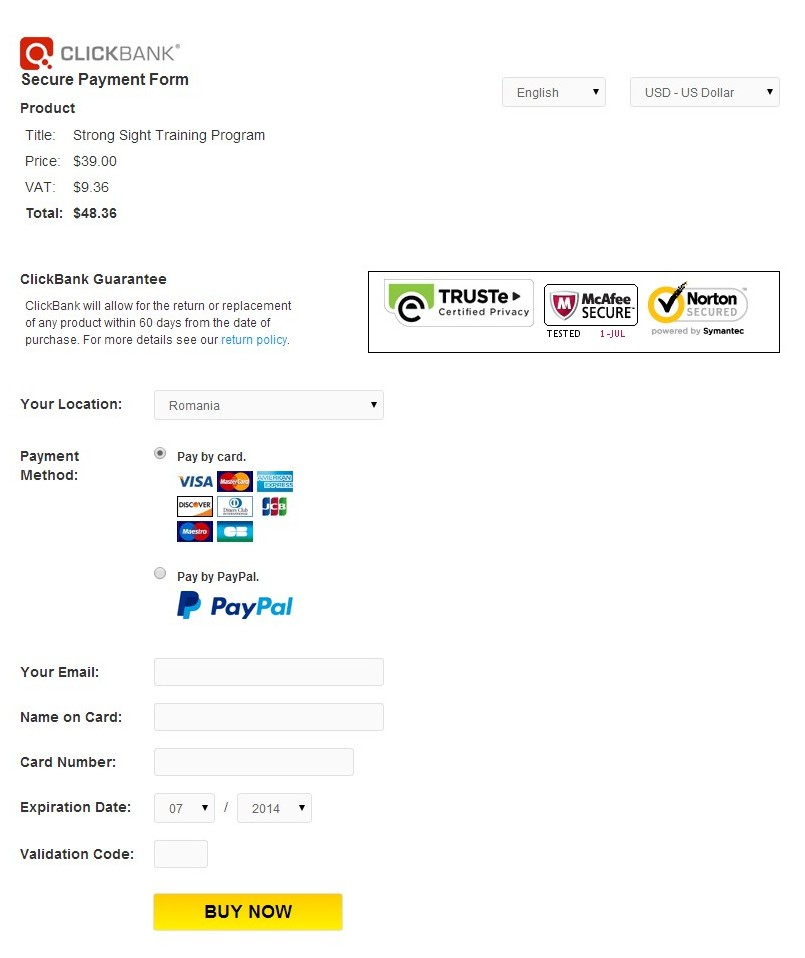 Clickbank Order Page